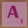 Scrabble pink tile letter A