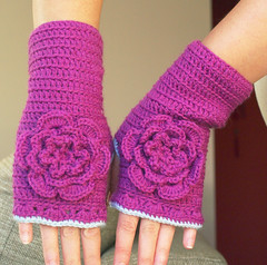Purple & Blue Handwarmers With Crocheted Flower photo by Ula~