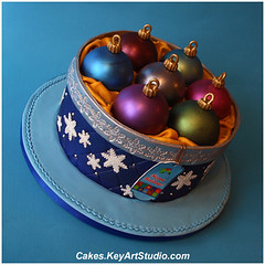 Box with Christmas Ornaments Cake photo by Cakes.KeyArtStudio.com