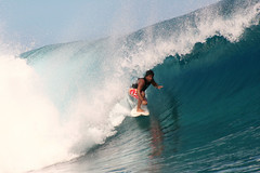 Raimana Van Bastolaer surfing Teahupoo, Tahiti. photo by cookiesound