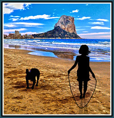 Daddy in the beach.   Rock of Ifach..Calpe  Spain photo by dagmaf
