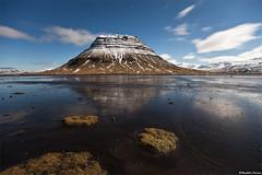 Mountain Kirkjufell under a blue moon - Snæfellsnes, west Iceland photo by skarpi - www.skarpi.is