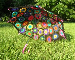 Crochet Umbrella - Granny Square Parasol And Embellished Rainbow Crochet Top photo by babukatorium