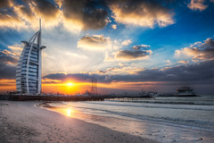 Burj Al Arab Sunset From Jumeirah Beach - (HDR Dubai, UAE) photo by blame_the_monkey