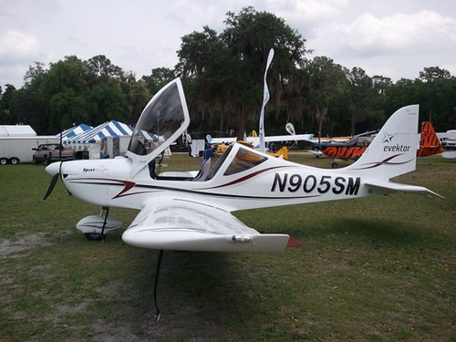 An Evektor SportStar LSA aircraft, similar to the one in which I did my Discovery Flight when first starting my flight training, on display at the 2011 Sun-n-Fun fly-in / airshow in Lakeland, FL.