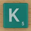 Scrabble White Letter on Green K