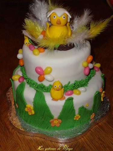 Nid de poussins gâteau de Pâques 002