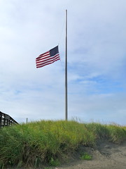 Flags at half-staff presumably for Ted Kennedy