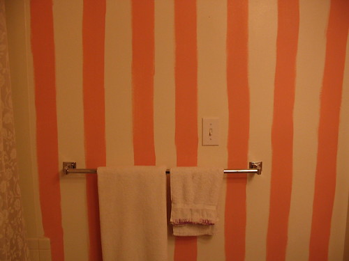 Bathroom of wobbly pink stripes