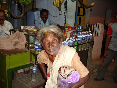 Old Lady at Kanyakumari Smoking Cigarette