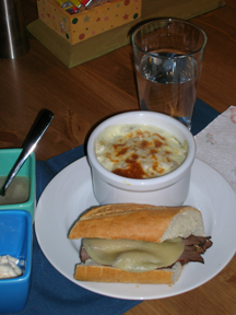 French Onion Soup & Roast Beef Baguette