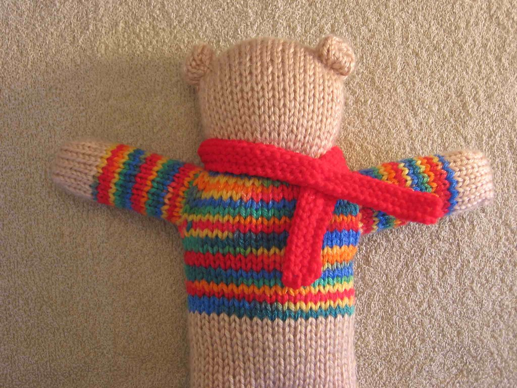 Stripe Bear with defined neck and ears plus scarf