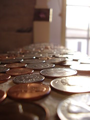 Close up coins