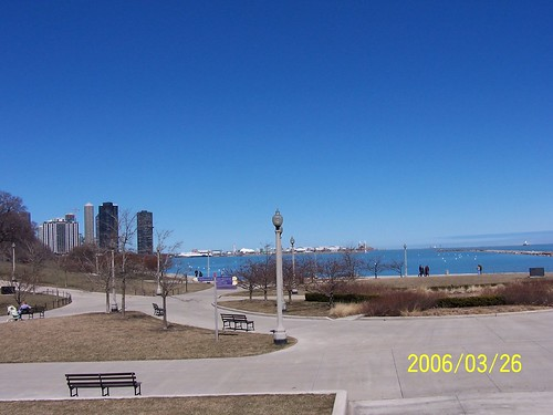 View of the lake and Navy Pier from the Museum Campus