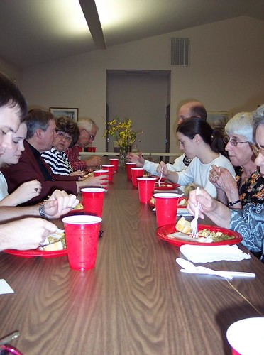 eating with our new friends at Grace Lutheran