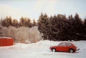Old School Honda Civic in the winter