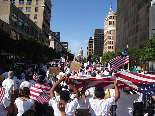 Marchers on Congress Ave in Austin