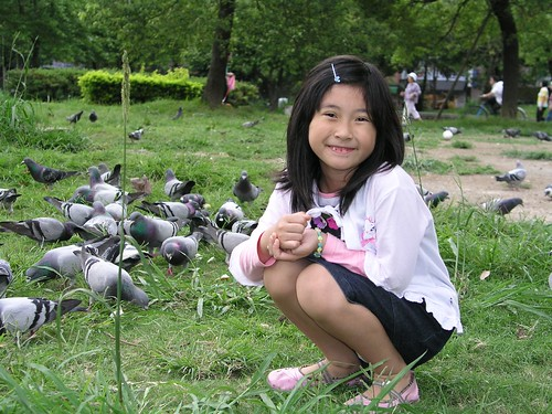 中和四號公園—Annie 與鴿子的合照