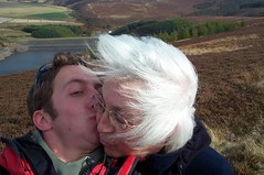 Mum and I walking about in the Lammermuir HIlls
