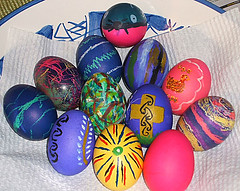 The finished painted Easter eggs