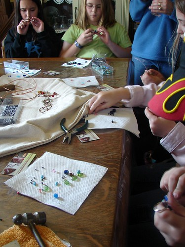 Girl Scout Class Keyring Creations making