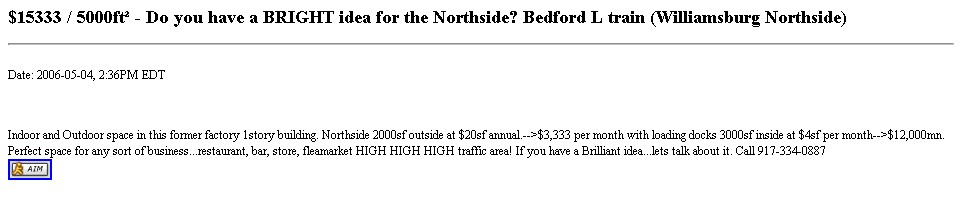 $15333 / 5000ft² - Do you have a BRIGHT idea for the Northside? Bedford L train (Williamsburg Northside)