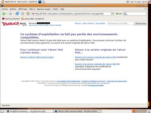 Yahoo Mail bêta et Firefox 1.5.0.2