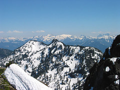 Mt Stuart, Mt Daniel, Mt Hinman, Bears Breast, And Summit Chief From Snow Wall On Baring Mtn (Grotto Mtn In Foreground)
