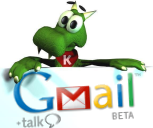 Konqui shows Gmail Logo