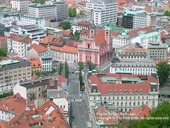 Ljubljana taken from above the tower. Note the deserted streets in the city centre.
