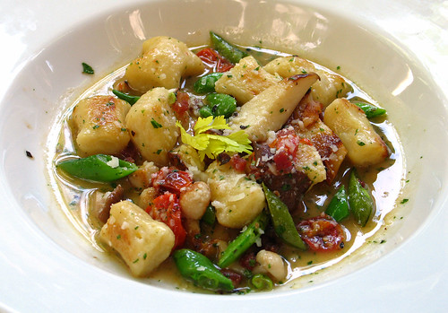 Lemon-Parmesan Gnocchi with Wild Mushrooms,Pancetta and Sugar Snaps