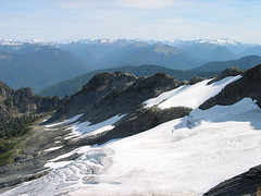 Looking Down To Glacier On Northwestern Slopes Of White Chuck Mtn And Northeast To Peaks In Distance