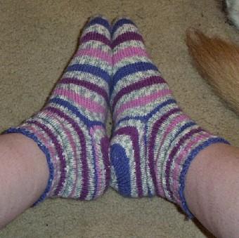 Plum socks side view
