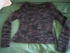 finished Satori sweater, lying flat
