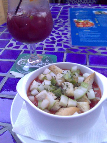 Gazpacho and a glass of sangria