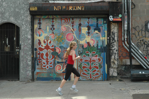 Jogging Past Painted Door
