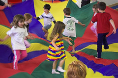 Children parachute play