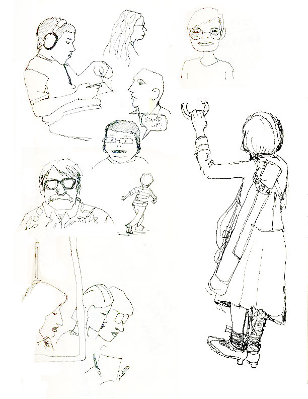 Sketches of people from the JR train, and airport. The trains are crowded,