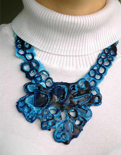 latex necklaces by Mirla Fernandes :  blue art latex modern