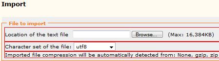 Import SQL file