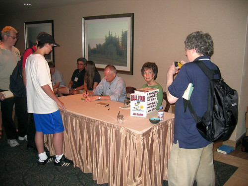 Jim Bouton signs copies of