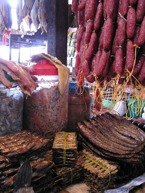 Prahok and dried fish at Russian Market