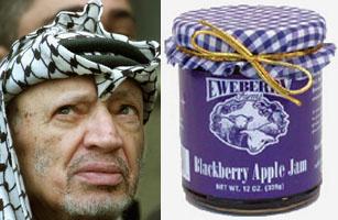 Parecido razonable entre Yasser Arafat y un tarro de mermelada tradicional