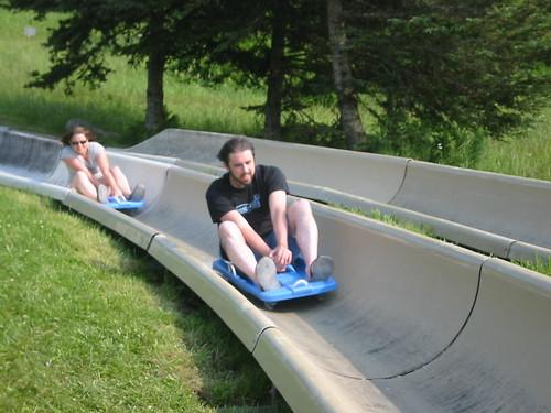 JB and AB sledding