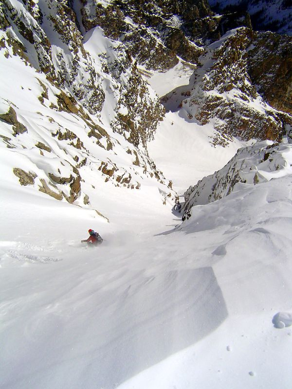 Skiing the Southeast Couloir on the South Teton