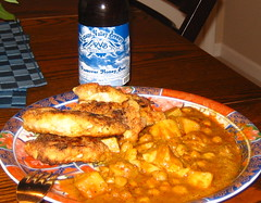 Chicken, Bombay Potatoes, and Beer