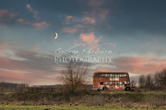 Old Bus on a moon sunset photo by George Fairbairn Photography