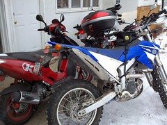 Winterizing bikes by letting them run for a bit after putting stabil in