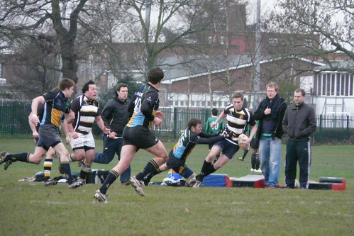 Full back James Hardwick dives to tackle