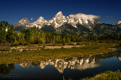 The Lower Teton Range Reflected on the Snake River at Schwabacher Landing at Grand Teton National Park photo by D200-PAUL -- On Holiday